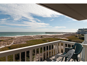 Oceanfront master bedroom deck area with expansive view of the beach, Oceanic Restaurant and Crystal Pier.